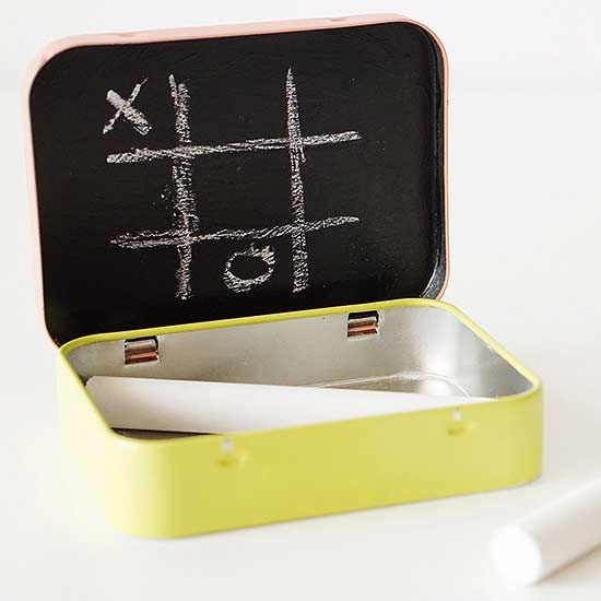 Turn an Altoid container into a mini chalkboard tic-tac-toe game. How cute for on-the-go!