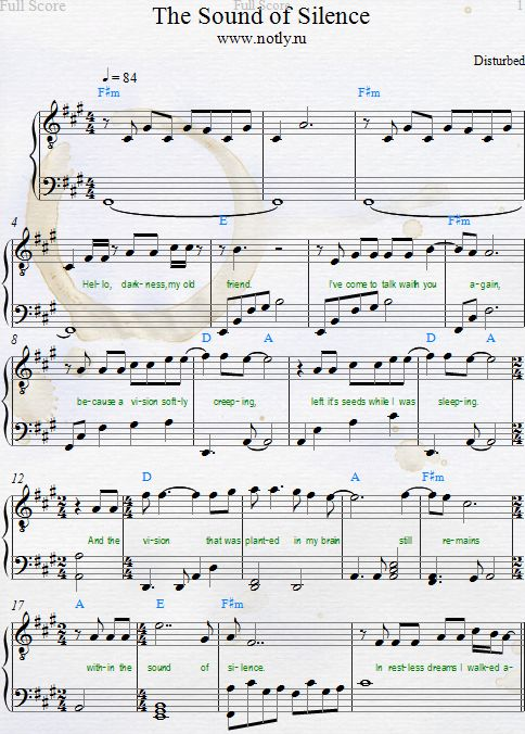 Disturbed — The Sound of Silence Download PDF Piano Sheet Music