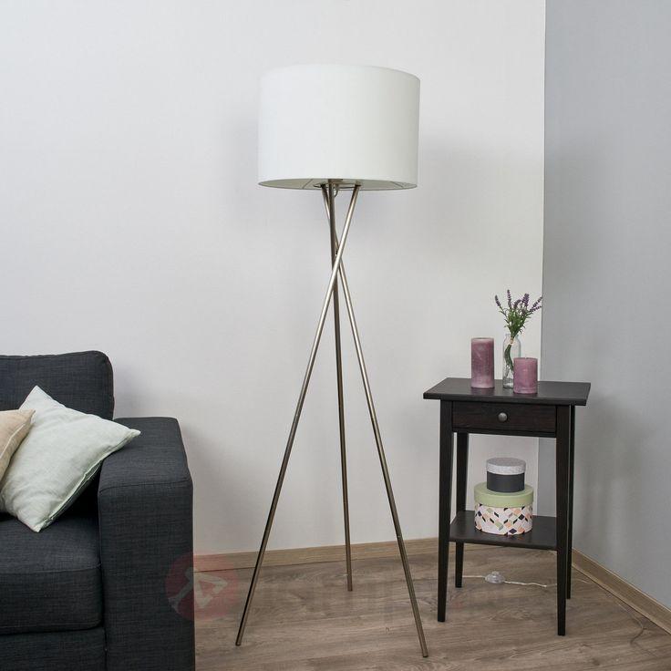 Trójnożna lampa stojąca Fiby, biały, tekst. klosz 4018034