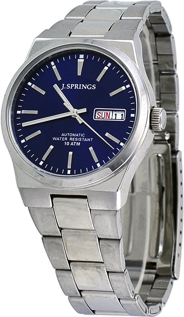 Amazon.com: J Springs #BEB032 Men's Stainless Steel Blue Dial Day Date Automatic Watch: Clothing