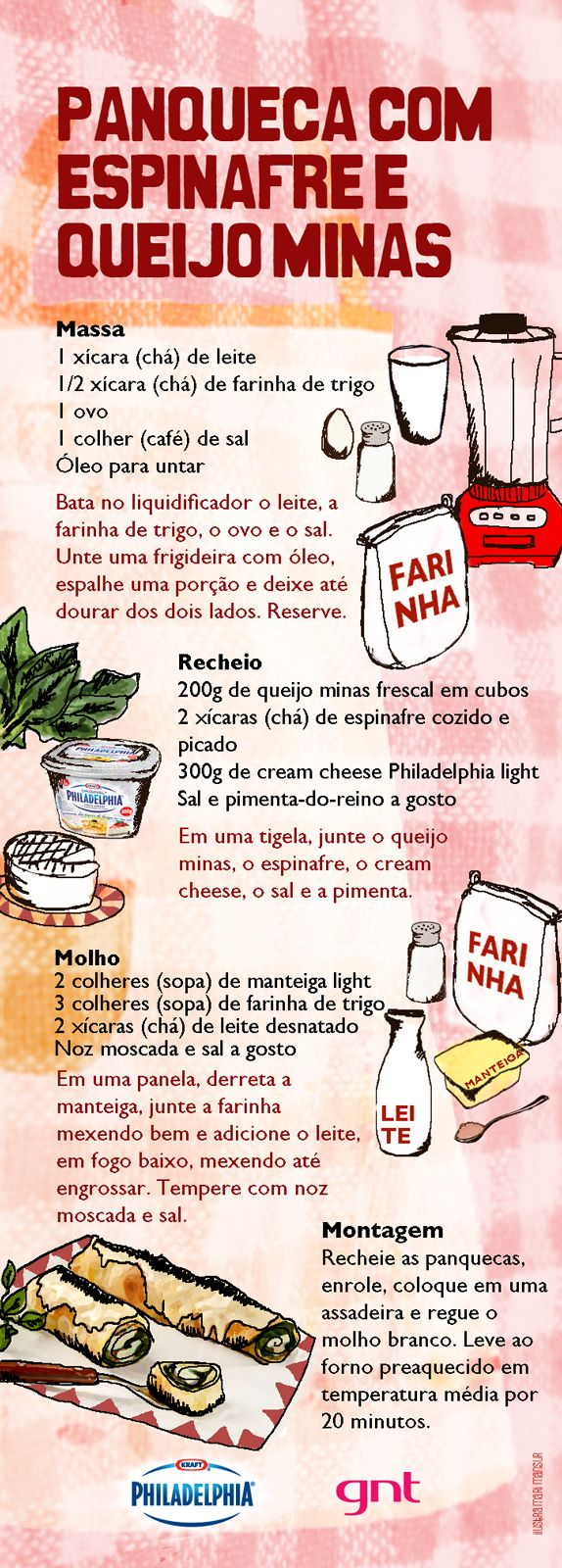 Panqueca de espinafre e queijo minas