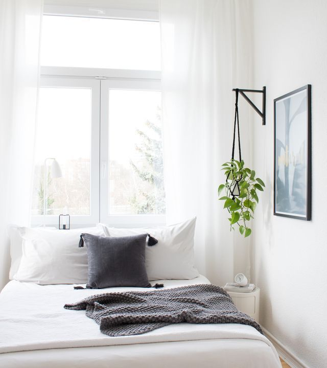 DIY | Hanging Planter made from black bracket, black frame, white bed sheets, grey cushion, white curtains