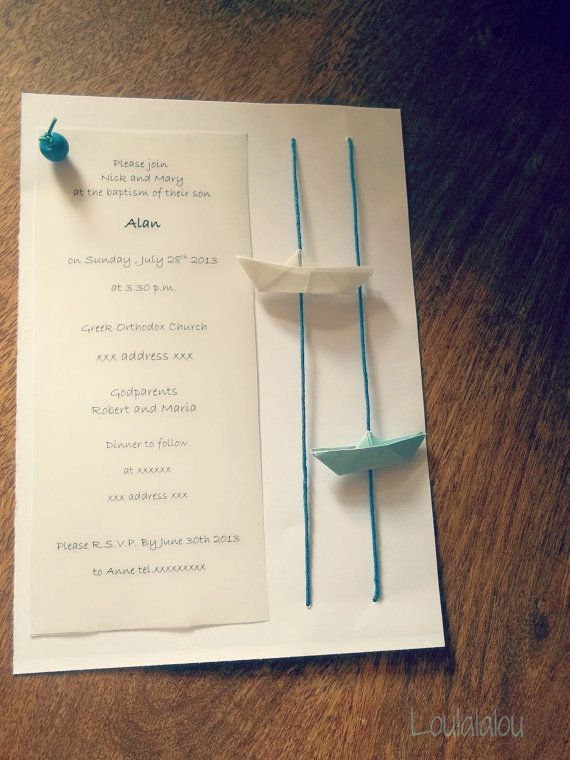 Baby boy Invitation  Boat Invitations for by Loulalalou on Etsy