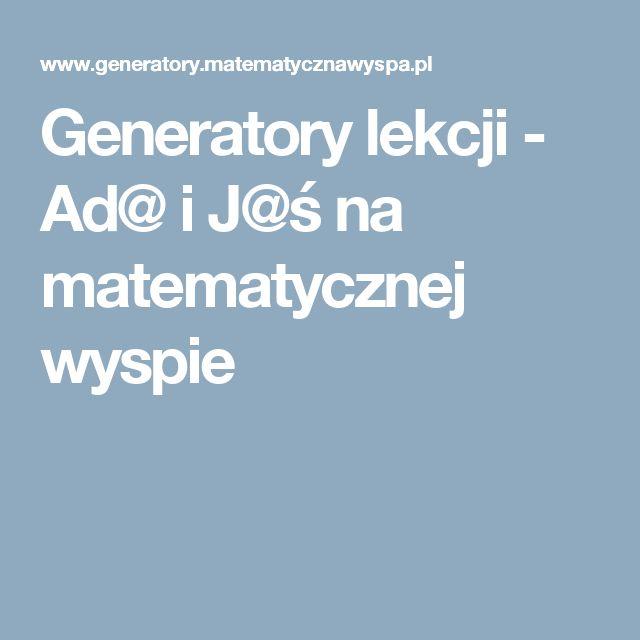 Generatory lekcji - Ad@ i J@ś na matematycznej wyspie