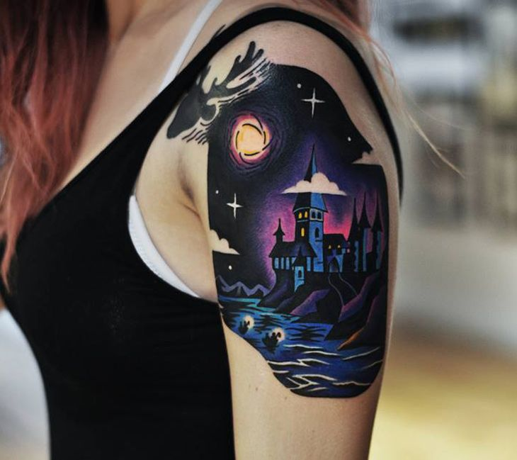 hogwarts shoulder tattoo. Black Bedroom Furniture Sets. Home Design Ideas