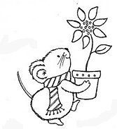 Mouse Bearing Poinsettia Rubber Stamp