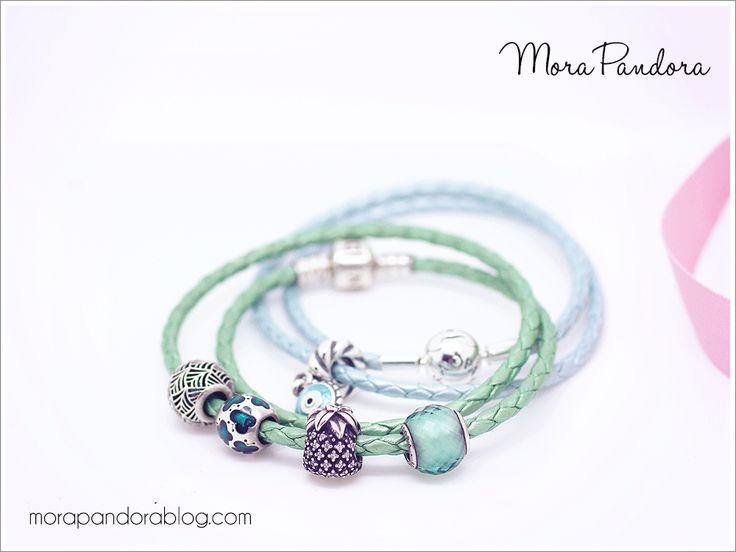 pandora summer 2016 blue leather bracelet stack