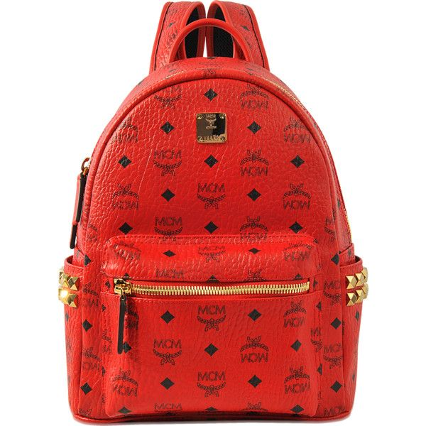 MCM Stark Small Backpack ($720) ❤ liked on Polyvore featuring bags, backpacks, red, day pack backpack, red bag, mcm, backpack bags and daypack bag