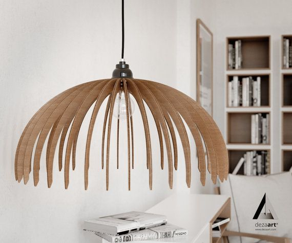 wood pendant light handmade ceiling hanging light modern lamp design art decor