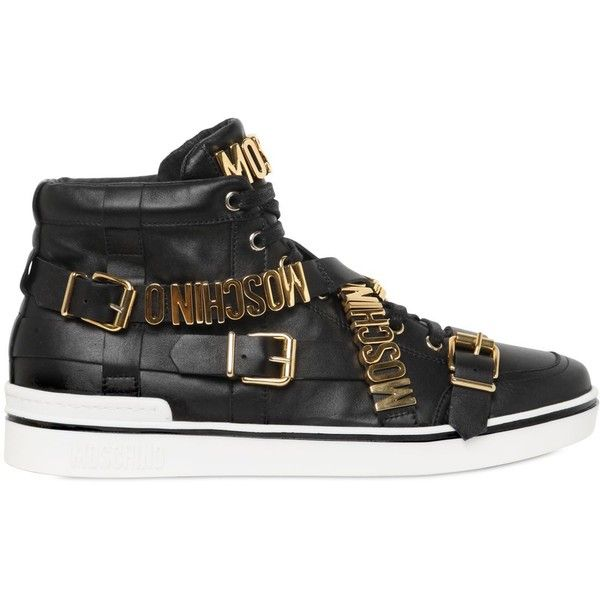 Moschino Men Logo Lettering Leather High Top Sneakers ($425) ❤ liked on Polyvore featuring men's fashion, men's shoes, men's sneakers, black, mens black shoes, mens high top sneakers, mens hi tops, mens high top shoes and mens high tops