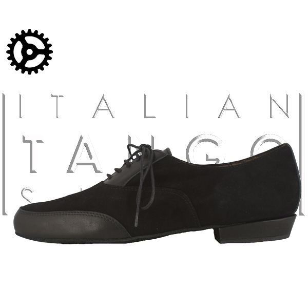 """pablo"" tango shoes for man in black suede and Leather at only 132 € for those who register on  www.italiantangoshoes.com"
