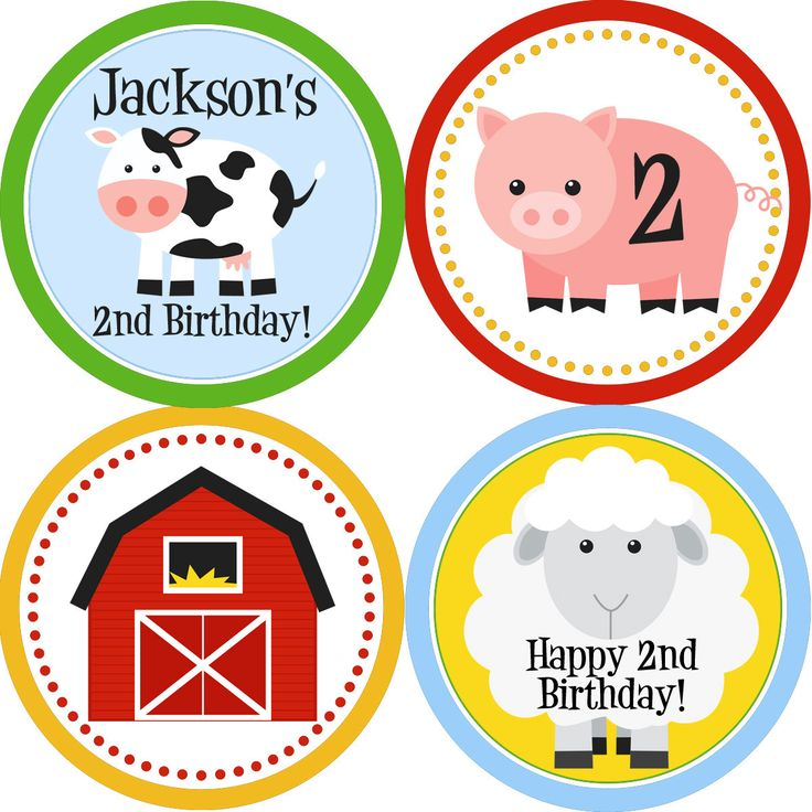 Farm Party Circles - Colorful Barn Animals, Cow, Sheep and Pig Personalized Birthday Party Circles - A Digital Printable File. $12.00, via Etsy.
