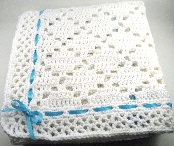 "DIAMOND LACE Baby Afghan Blanket-SIZE: approx. 34"" x 34"" YARDAGE: requires approx. 16 oz Worsted Weight yarn HOOK: size H"