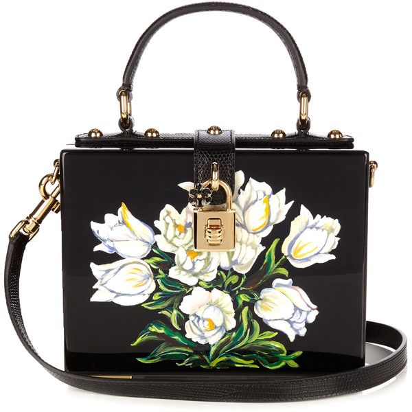 Dolce & Gabbana Dolce Box Tulip-print plexiglass bag (€3.300) ❤ liked on Polyvore featuring bags, handbags, shoulder bags, black white, handbag purse, black white purse, black white handbag, dolce gabbana handbags and man bag