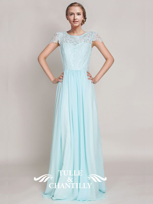 Light Cyan Lace and Chiffon Bridesmaid Dress with Cap Sleeves 1