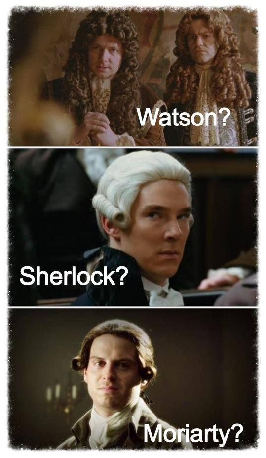 """Whoa! I didn't know Martin played in this too.<<< WOAH LOOK LESTRADE! """"Wigs are my division!"""""""