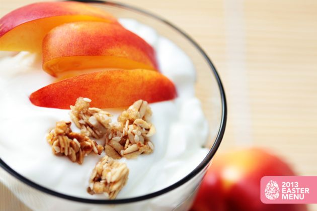 Peachy Parfait - Approx. 200 calories per serving. From our 2013 Easter Menu. #u_weight_loss