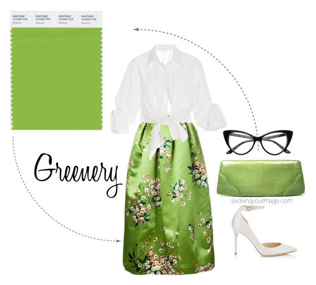 """Pantone Greenery"" by evolveyourimage ❤ liked on Polyvore featuring Rochas, Johanna Ortiz, Jimmy Choo and Cece Cord"