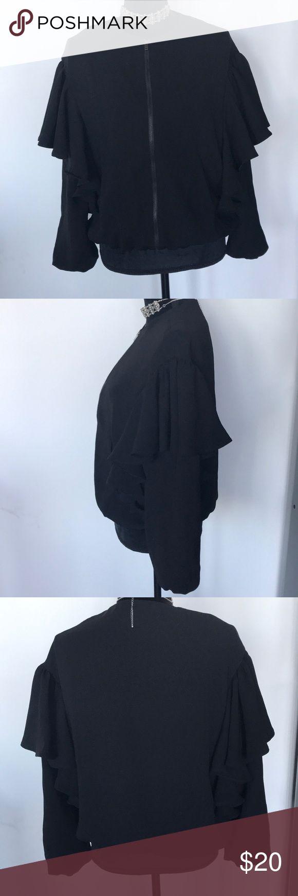 Zara Ruffle Jacket M I am selling a ruffle sleeve bomber style  jacket from Zara.  Size:M Zara Jackets & Coats