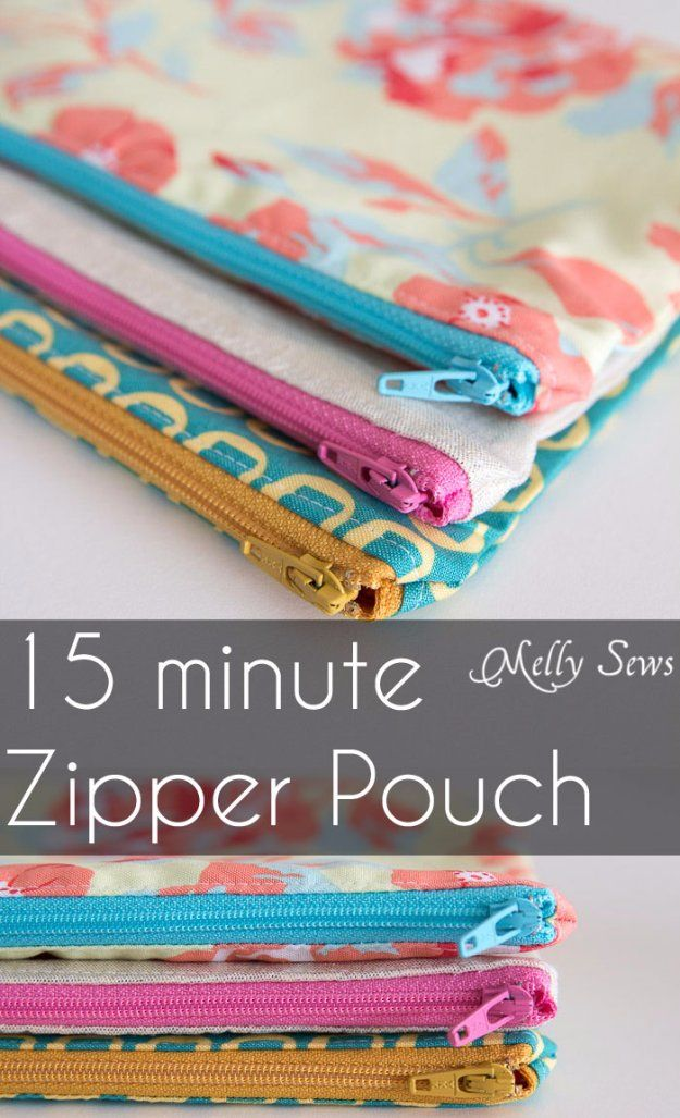 DIY Sewing Gift Ideas for Adults and Kids, Teens, Women, Men and Baby - Zipper Pouch Tutorial - Cute and Easy DIY Sewing Projects Make Awesome Presents for Mom, Dad, Husband, Boyfriend, Children http://diyjoy.com/diy-sewing-gift-ideas