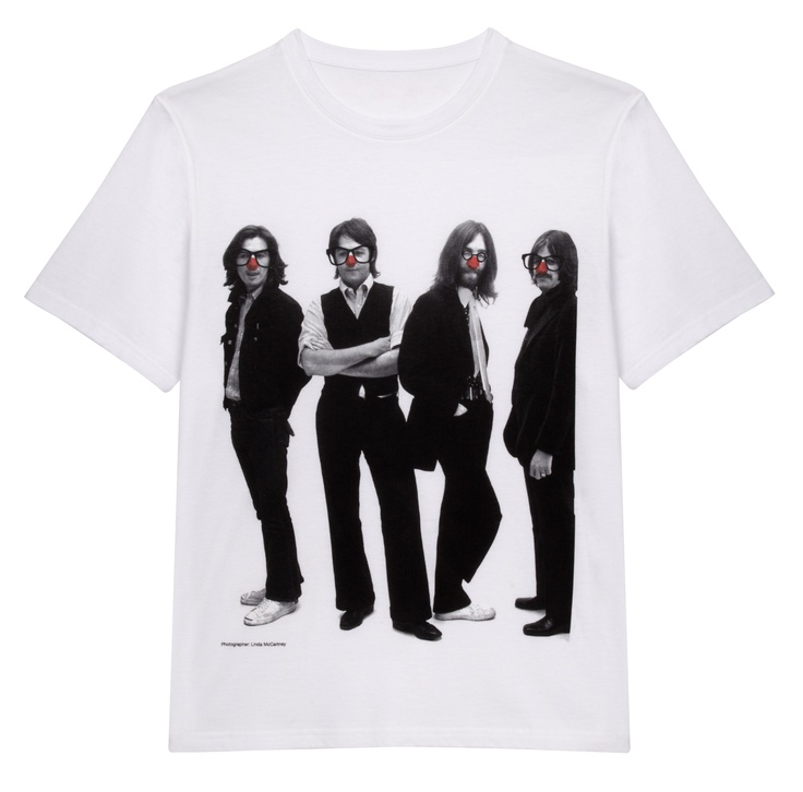 A white T-shirt featuring an iconic black and white photograph of The Beatles taken by Linda McCartney, with the addition of red noses and glasses. 100% organic Fairtrade certified cotton. Wash at 40.   Designed by Stella McCartney exclusively for Red Nose Day. With at least £5 going to Comic Relief, helping to change lives across the UK and Africa, t-shirt is £9.99. 100% organic Fairtrade certified cotton. Wash at 40.