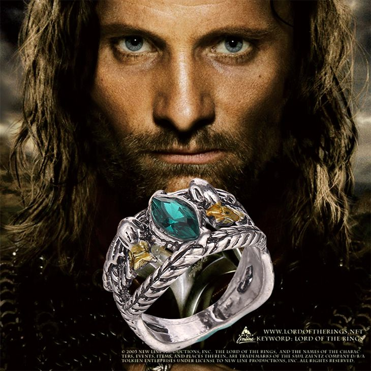 Aragorn ring vintage retro antique silver green crystal for men and women wholesale
