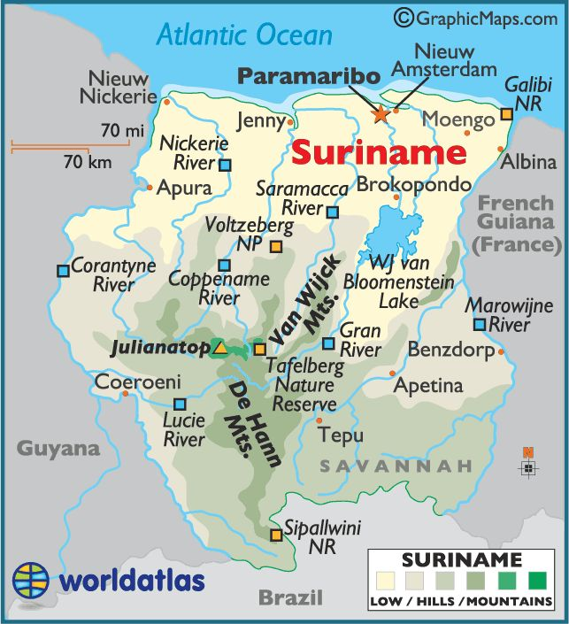 map of Suriname. Geographically Suriname is in South America but it is culturally and historically part of the Caribbean. It is a member of Caricom.