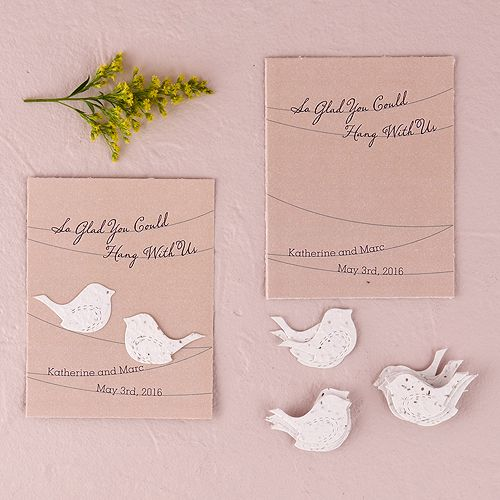 Seed Paper Love Birds Personalized Favor Card - The Knot Shop