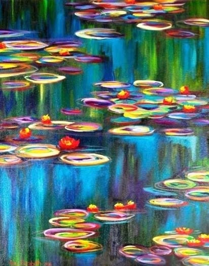 Monet's Water Lilies Fine Art Print--13x19 with Matte. Painted by Mary Elizabeth Arts