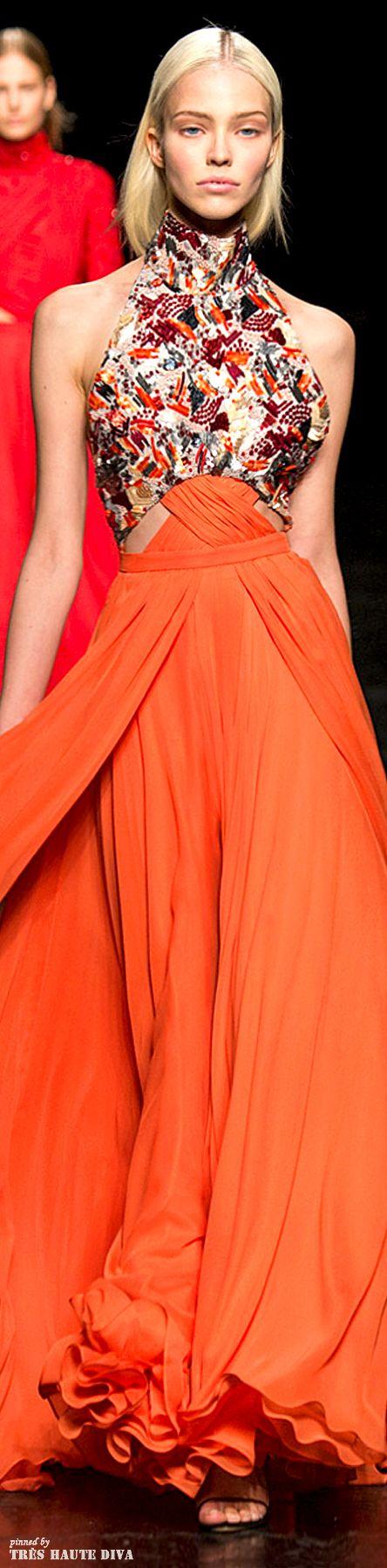 Orange and coral / Karen Cox. Gown NYFW Prabal Gurung Fall 2014 RTW