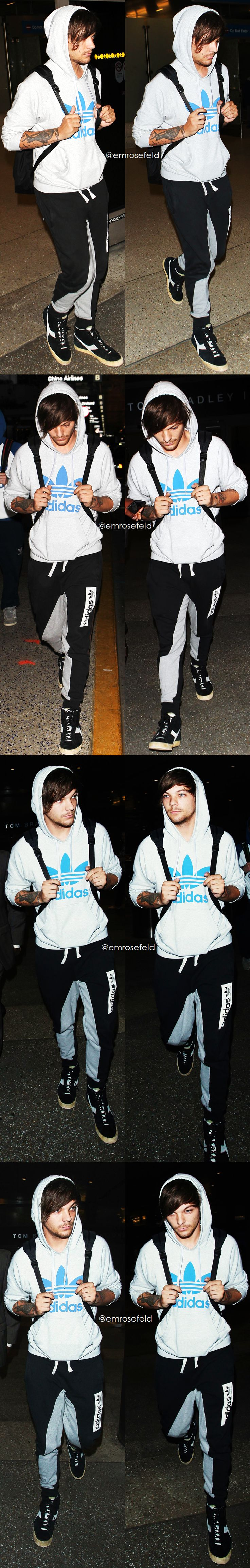 And here we have the always beautiful Louis Tomlinson from One Direction exemplifying great athletic mens wear: from adidas hoodie to bold joggers to fresh kicks.