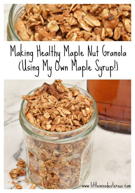 Make this Healthy Maple Nut Granola! Packed with nuts, seeds, and grains, roasted PERFECTLY with pure maple syrup, offers a sweet protein packed punch.