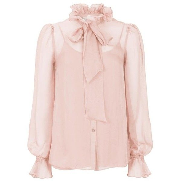 Temperley London Costume Silk Shirt ($695) ❤ liked on Polyvore featuring tops, blouses, neutral, layered blouse, ruffle shirt, ruffle blouse, pink silk shirt and flared shirt