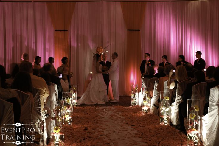Hot Pink and Black Wedding - Hilton Hotel - Nashville TN - Using Gerberas down the aisle in glass vases