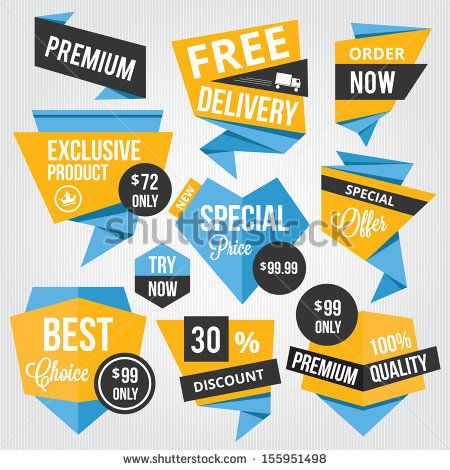 Premium Vector Sale Badges and Labels Blue Yellow - stock vector