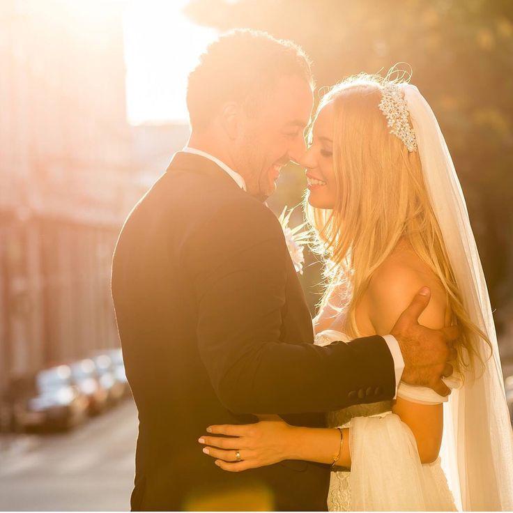 Bride Groom Sunset City trash the dress love husband wife ourlife