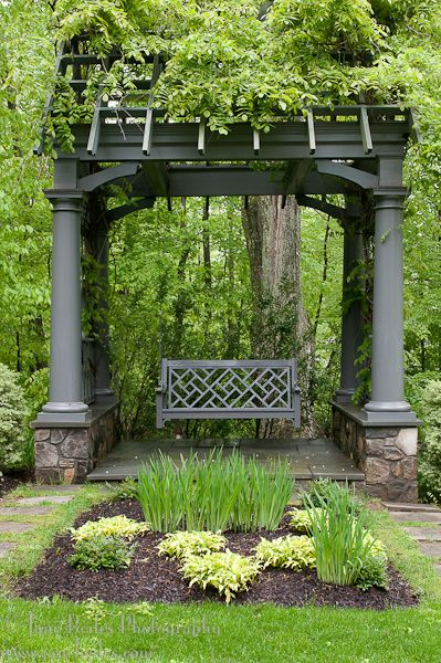 .arbor with slanted roof trellis- note interior height