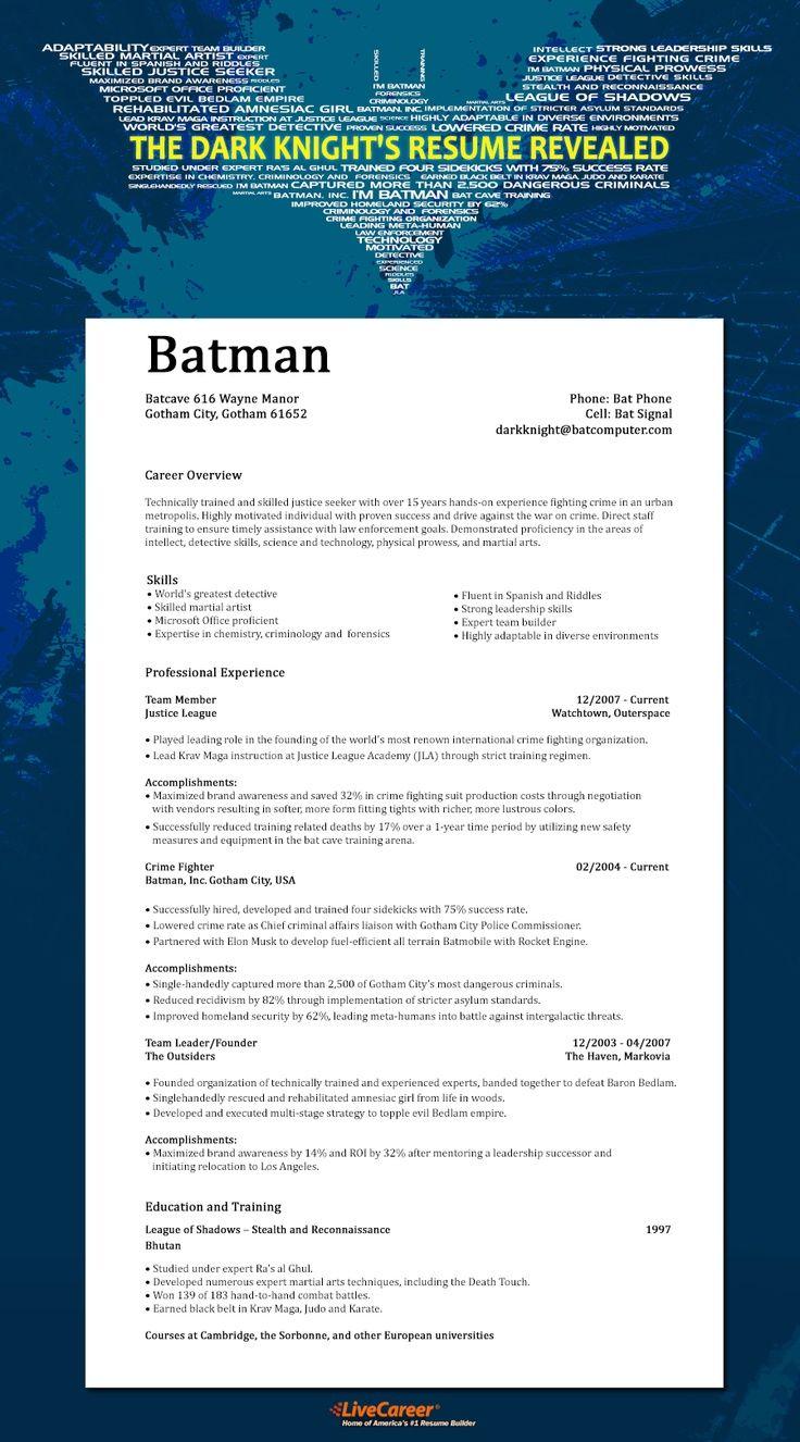 LiveCareer infografik #film #sinema #özgeçmiş #resume #dizi #infografik #infographic #work #business #socialbusiness #kariyer #movie #batman #gotham