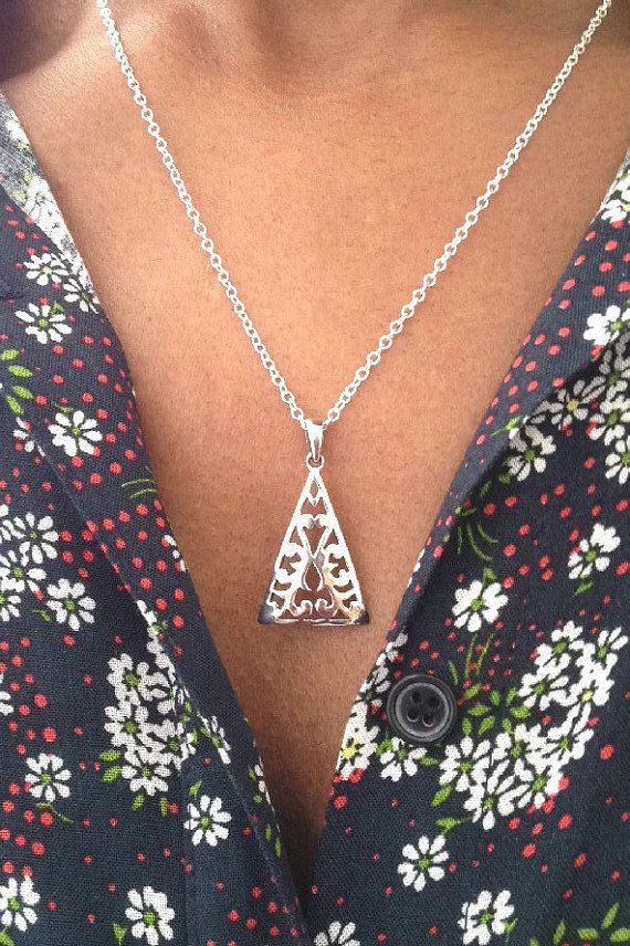 Tribal Necklace/ Triangle Necklace/ Aztec by AVBohoJewellery