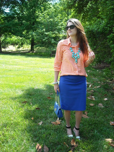 Cobalt Skirt with Orange Gingham Shirt