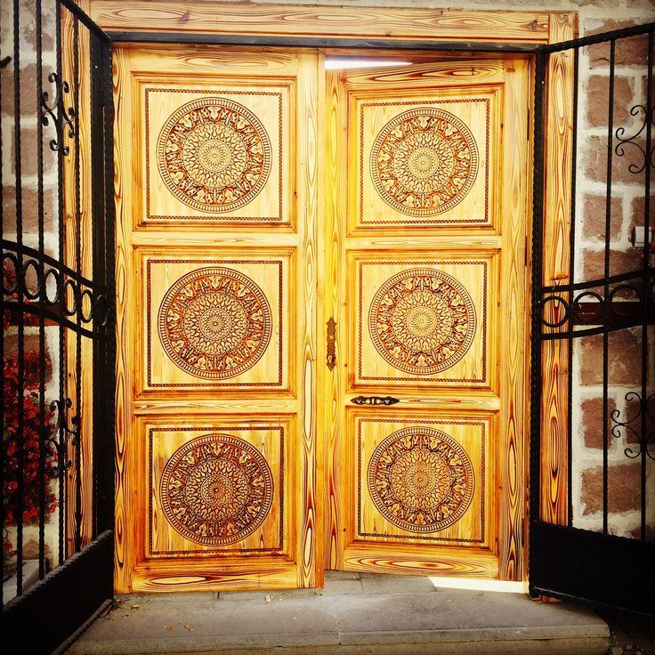 Ahşap dekoratif cnc işlemeli kapı