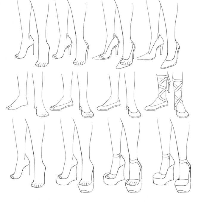 Картинки как нарисовать ноги аниме