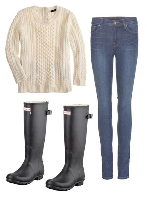 """I love a good cream cable knit sweater with skinny jeans and some Wellies. It's really chic but still comfortable, nautical and perfect for a rainy day.""-Ilaria Urbinati"