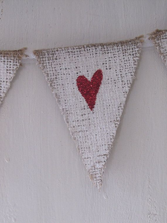 MINI Painted White Red Glittere Hearts Burlap Banner with Tulle Ties, Bows