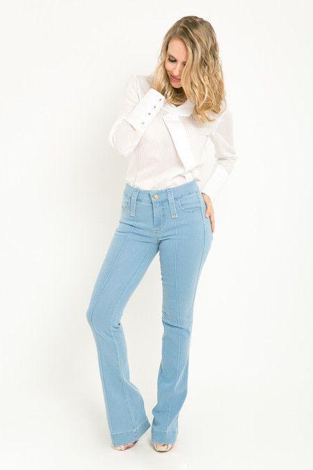 Calça flare jeans claro Jill - Mari Villani