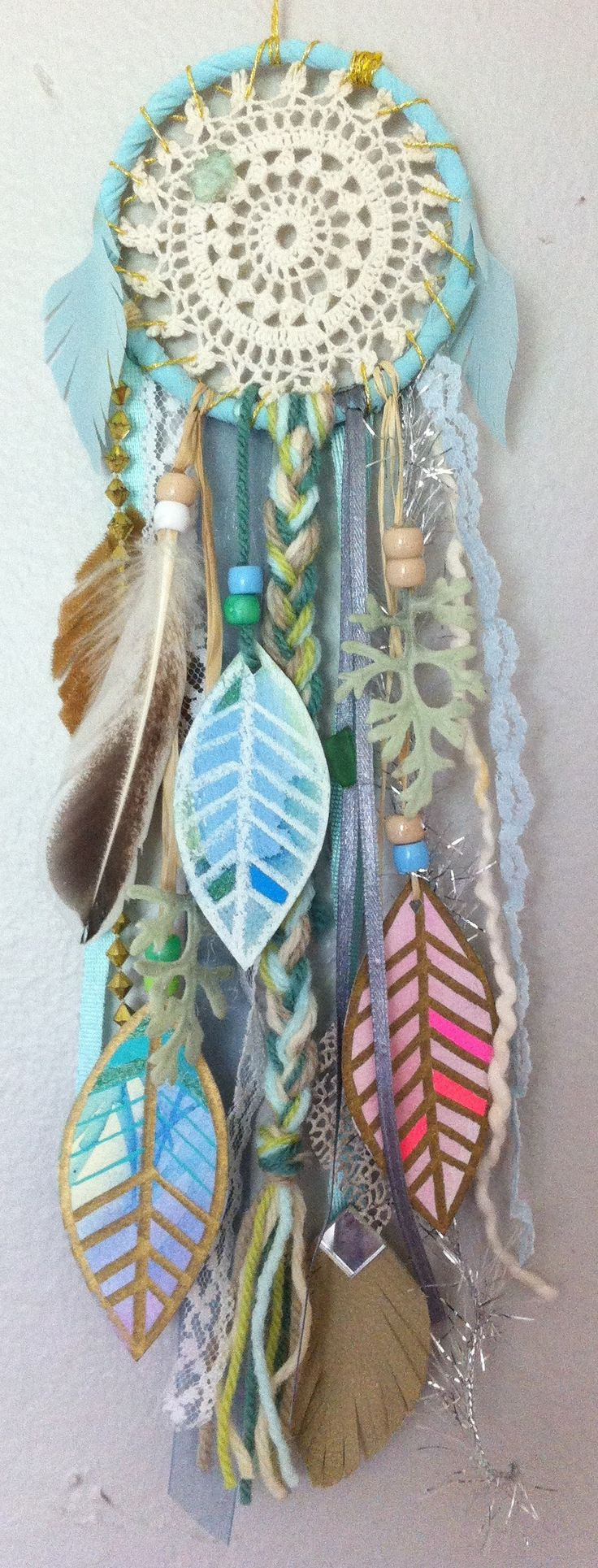 mini dreamcatcher by rachael rice with watercolor feathers https://www.etsy.com/listing/152195304/aqua-dream-little-dreamcatcher-with  #aqua #turquoise #vintage