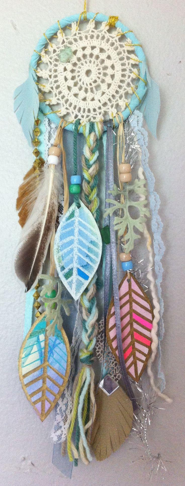 mini dreamcatcher by rachael rice with watercolor feathers https://www.etsy.com/listing/152195304/aqua-dream-little-dreamcatcher-with #aqua #turquoise #vintage