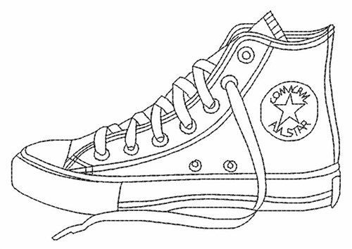 Pages Converse shoe embroidery Adult Coloring, Shoes Coloring, Shoe ...