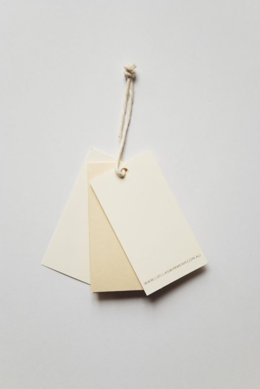 Back: vintage swimwear label swing tag. Designed in collaboration with Jennifer Nunez.