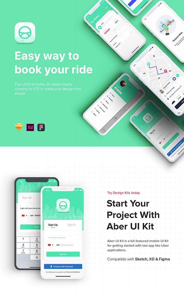 Aber Mobile UI Kit on Behance   app   App ui, Cab app, Ui kit